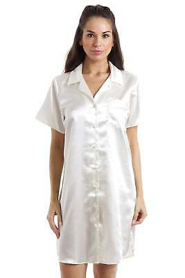 Camille Nightwear Luxurious Knee Length Button Front Cream Satin Nightshirt