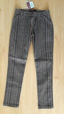 Lovely Girl's Brown & Green Stripe Jeans Trousers by Miss Stereo - Age 12 BNWT!