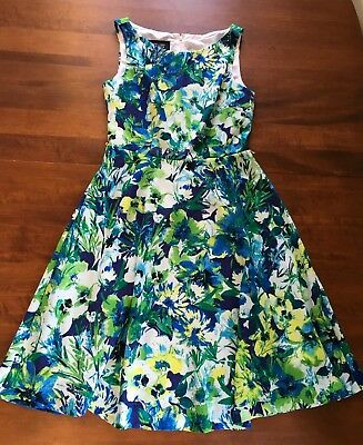 08cfff9dcbe EVAN PICONE BLACK Label Blue Green Floral Dress A-line Size 2 ...
