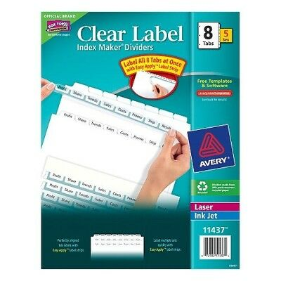 Avery Mini Index Maker Clear Label Dividers With White Tabs 55 X