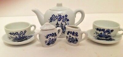 Miniature Japanese Tea Set Lot of 9 pieces Porcelain White Blue Design Red Stamp