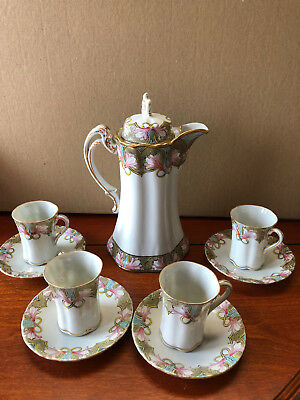 Antique Chocolate Set - Nippon - Hand-Painted Pot with 4 Matching Cups & Saucers