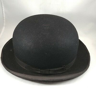Vintage Dunn and Co of Piccadilly London Black Bowler Hat Prop Costume