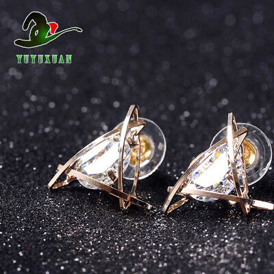 @ A Pair Of Brass Gilt Inlaid White Crystal Triangles Earrings @@E2016