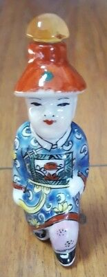 Vintage Chinese Porcelain Snuff Bottle Agate Stopper hand painted Man Respect