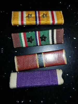 WWII US Army Navy Marine Pacific Eiurope Africa Combat Ribbon Bar Lot x4