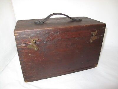 Vintage wooden box with carry handle  Storage , Sewing Box etc.,