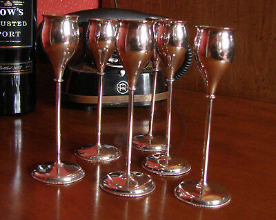A Lovely Vintage Set of Six  Austrian Solid Silver Liqueur Goblets Hallmarked