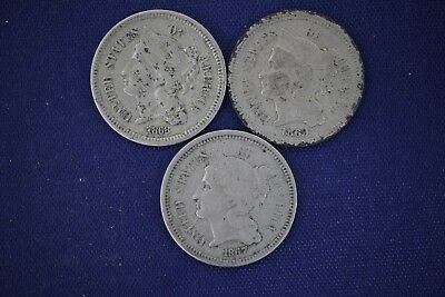 1867, 1868, & 1869 Three 3 Cent 3c Nickel Coins - Lot of 3