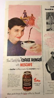 Vintage 1955 Ad Nescafe Instant Coffee, Women in High Heels Enjoying Java Time
