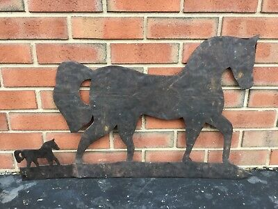 19c Folk Art Horse With Foal Sheet Iron Weathervane