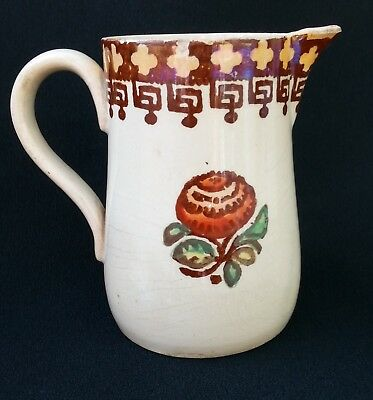 Antique Sponge Ware Pottery Jug/pitcher - Floral Design