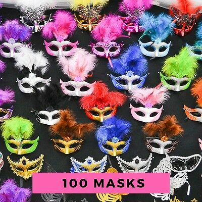 100PC Lot Wholesale Bulk Mardi Gras Masks Masquerade Costume Wedding Party Prom