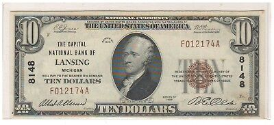 Series 1929 The Capital National Bank of Lansing Michigan $10 Note