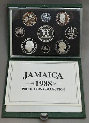 1988 Jamaica 9 piece Proof Coin Collection Silver with Box & COA Only 500 Minted