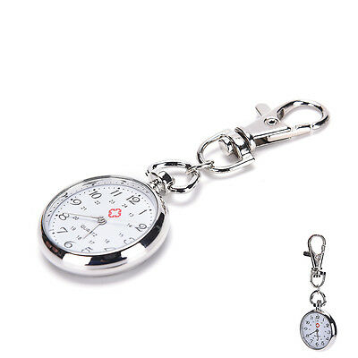 Stainless Steel Quartz Pocket Watch Cute Key Ring Chain Gift HL