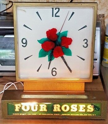 Vintage 1940's FOUR ROSES Blended WHISKEY Lighted Advertising Clock / Sign Works