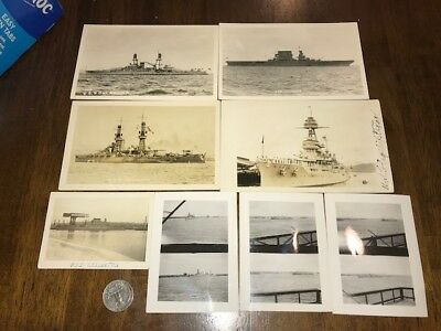 Lot of 9 photos and Real Photo Postcards US Warships WWII Oklahoma Lexington ++