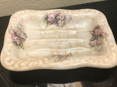 Vintage Large Porcelain Victorian  Soap Dish With Roses