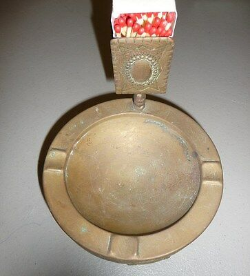 Vintage Solid Brass  Cigarette Ashtray With Match Stick Holder-FREE SHIPPING