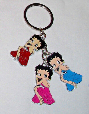 Betty Boop in Sitting Pose Red Hot Pink Blue Keychain/Keyring  Handcrafted