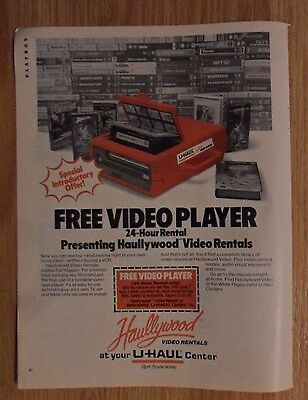 1985 Print Ad Uhaul U-Haul Moving Center ~ Haullywood Rentals VHS Video Player