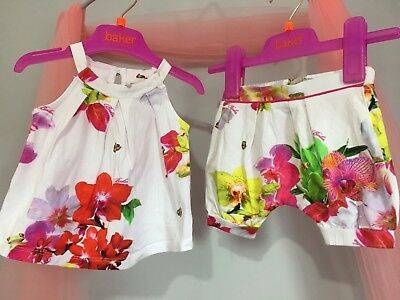 Baby Girls Designer Ted Baker White Floral Summer Outfit Top & Shorts 3-6m🎀