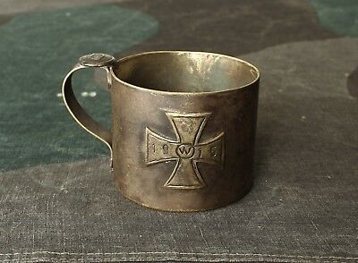 German Army WWI Soldier Brass Drinking Cup with Iron Cross - Trench Art - 1915