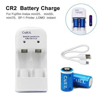2x CR2 CR123 5V 280mAh Rechargeable Battery + 1x Dual Slot Charger For Fujifilm