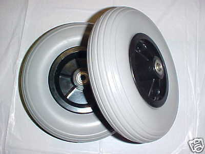 """powerchair caster tires 8 x 2 200x50 solid on rim 5/16"""" wheelchair scooter"""