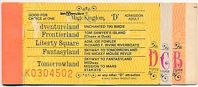 Vintage Walt Disney World 10 Adventure Ticket Book