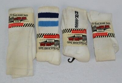 Vtg Lot of 4prs Railroad Sock Striped Printed Plain Tube Crew Socks READ 10-13