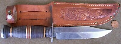 WW2 era AERIAL (Marinette WI) Fighting Hunting knife + original AERIAL sheath