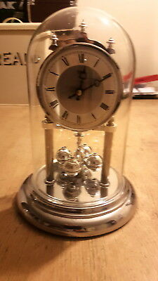 Lovely Silver Hermle Anniversary Quartz Clock With Glass Dome