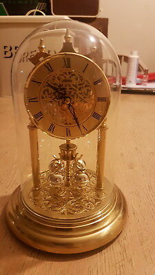Lovely Haller Anniversary Mantle Clock With Glass Dome Working Order