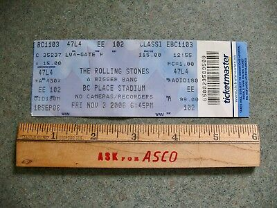 The Rolling Stones A Bigger Bang Ticket Stub BC Place Vancouver Nov 3 2006