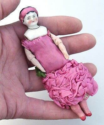 Original Antique early 20thC DOLL HOUSE Porcelain Head Flapper DOLL Germany