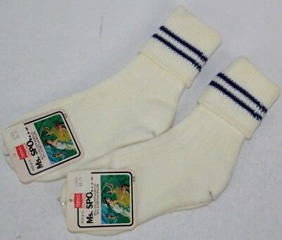 Vtg Hanes Lot of 2prs Ms. Sports Thick Ribbed Cuff Socks 85% Orlon 9-11