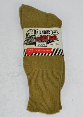 Vtg 1 Pair RAILROAD SOCK  Cotton Wool Cushion Boot Socks, Olive 11-11.5