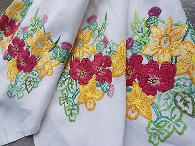 Gorgeous Vintage Hand Embroidered Linen Tablecloth with UK National Flowers