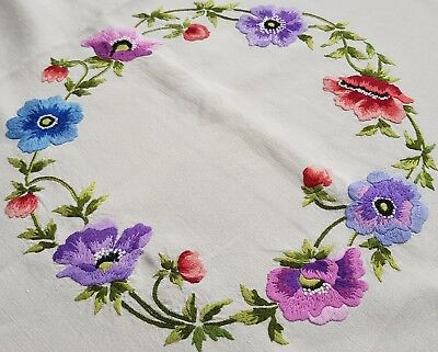 Exquisite Vintage Hand Raised Embroidered Linen Tablecloth with Flowers