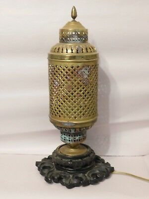 Vintage Pierced Brass Chinese Lamp Carved Wooden Base