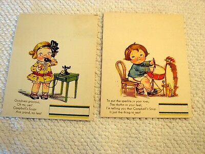 2 Vintage Campbell Soup Party Place Cards