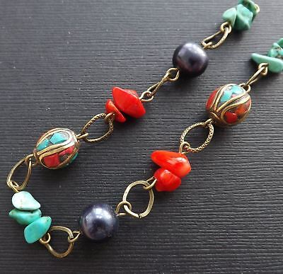 "8"" handmade chain-12mm Nepal Brass beads,Coral, Turquoise, black Pearls,raw bras"