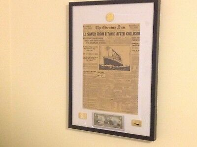 TITANIC POSTER framed with 2 dollar and3coins American authentic money looks lo
