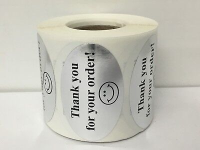 """Labels and More 1.25"""" x 2"""" Oval THANK YOU FOR YOUR ORDER / 500 Blk-SILV Stickers"""