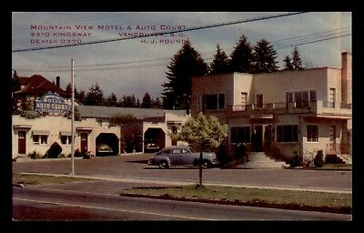 Vintage Canada Pc Mountain View Motel Auto Court Vancouver Bc Advertising
