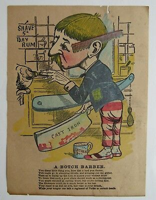 "Barber Shop  Print "" A Botch Barber"" Great For Framing In Shop"