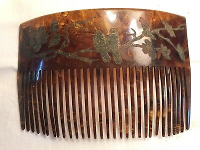 ANTIQUE VINTAGE TORTOISE CELLULOID CARVED HAIR COMB  Love Birds And Flowers