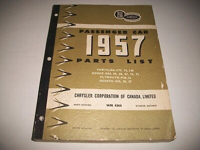 1957 DODGE CHRYSLER PLYMOUTH DeSOTO CARS CHASSIS & BODY PARTS LIST CATALOG CLEAN